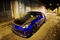 Картинка ночь, синий, Nissan, карбон, 350z, тунель