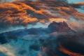 Картинка пейзаж, рассвет, облака, гора