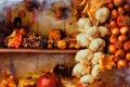 Картинка яблоко, кукуруза, урожай, лук, орехи, натюрморт, овощи