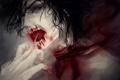 Картинка кровь, порез, парень, крик, рана, горло