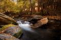 Картинка осень, дом, река