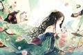 Картинка кот, цветы, чай, еда, Девушка, кимоно