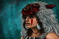 Картинка девушка, маска, арт, мех, раскраска, принцесса мононоке, mononoke hime