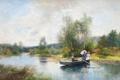 Картинка пейзаж, река, зонтик, девушки, лодка, Severin Nilson, Roddtur i grönskande landskap