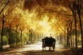 Картинка дорога, деревья, парк, ветви, повозка, карета, аллея
