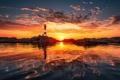 Картинка закат, фото, Вода, Природа, Облака, Море, Маяк