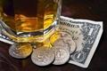 Картинка bar, money, dollar, coins, alcoholic beverage, banknote