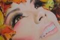 Картинка осень, губы, девушка, макияж, листья, лицо, живопись