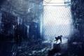 Картинка кошка, снег, забор, решетка, арт, черная, заброшенность