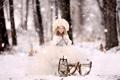 Картинка зима, лес, снег, природа, шапка, ребенок, платье