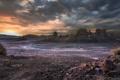 Картинка закат, природа, скалы, пустыня