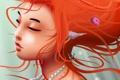 Картинка девушка, рисунок, жемчуг, бусы, ракушки, рыжая, бусины