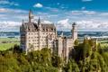 Картинка лето, небо, облака, Германия, Бавария, замок Нойшванштайн