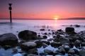 Картинка закат, море, знак