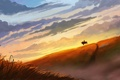 Картинка закат, склон, силуэт, арт, нарисованный пейзаж