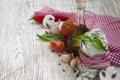 Картинка зелень, грибы, масло, еда, помидор, food, mushrooms