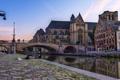 Картинка Брюссель, Бельгия, город., строения, мост, канал