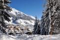 Картинка зима, небо, снег, деревья, горы, голубое, дома