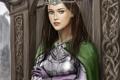 Картинка девушка, дождь, арт, плащ, диадема, доспех, Cordelia