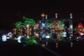 Картинка ночь, огни, отражение, Дубай, ОАЭ, минарет