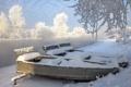 Картинка зима, пейзаж, река, лодки