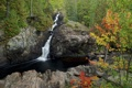Картинка осень, лес, деревья, горы, река, скалы, водопад