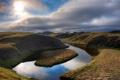 Картинка природа, река, холмы, Исландия, русло