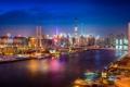 Картинка небо, отражение, лодки, зеркало, фонари, Китай, Шанхай
