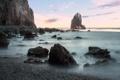 Картинка море, камни, берег, рассвет, скала