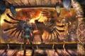 Картинка оружие, крылья, демон, окно, арт, страж, помещение