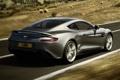 Картинка дорога, серый, фон, Aston Martin, скорость, суперкар, вид сзади