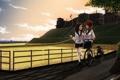 Картинка дорога, небо, облака, велосипед, две девушки, разговор