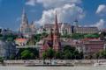 Картинка Буда, река, Дунай, Будапешт, дома, Венгрия, собор
