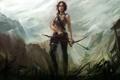Картинка девушка, рисунок, лук, Tomb Raider, Lara Croft, фан-арт
