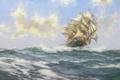 Картинка море, волны, облака, корабль, парусник, Montague Dawson