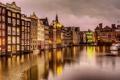 Картинка город, река, дома, ночь, вечер, огни