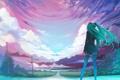 Картинка дорога, небо, облака, волосы, Девушка, лэп