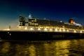Картинка море, ночь, корабль, фото, круизный лайнер