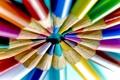 Картинка макро, цветные, радуга, карандаши, кругом