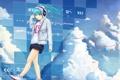Картинка девушка, облака, наушники, арт, провод, vocaloid, hatsune miku