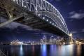 Картинка небо, вода, ночь, мост