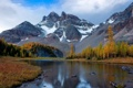 Картинка Canada, river, autumn, mountains, snow