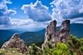 Картинка небо, облака, горы, природа, скала, камни, фото