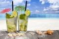 Картинка море, пляж, ракушки, beach, sea, drink, mojito