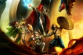 Картинка оружие, огонь, пламя, дракон, меч, лук, лучница