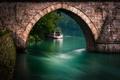 Картинка мост, природа, река, лодка