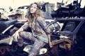 Картинка fashion, Model, cars, old, jeans, yard, Victoria Claro