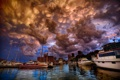 Картинка бухта, город, океан, лодки, яхты