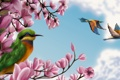 Картинка небо, облака, птицы, дерево, клюв, арт, цветочки