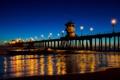 Картинка пляж, огни, океан, вечер, Huntington Beach